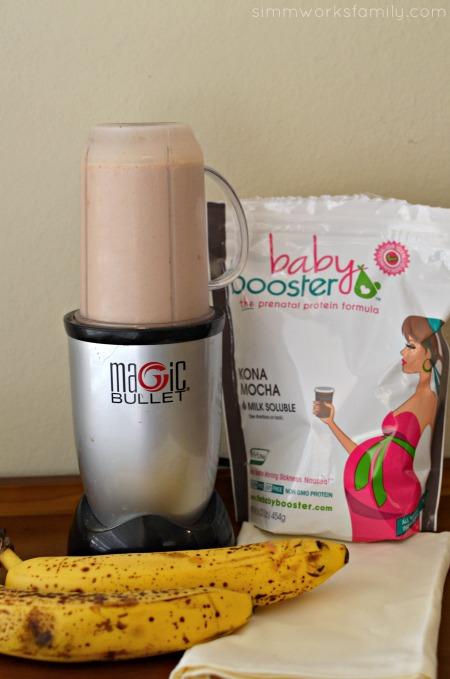 Mocha Peanut Butter Banana Shake with Baby Booster - blended