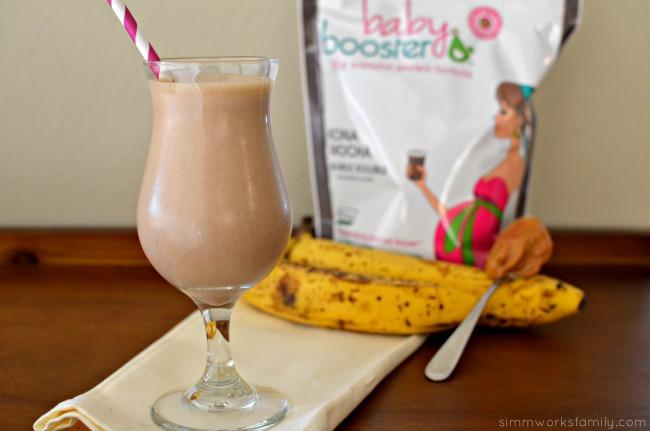 Mocha Peanut Butter Banana Shake with Kona Mocha Baby Booster