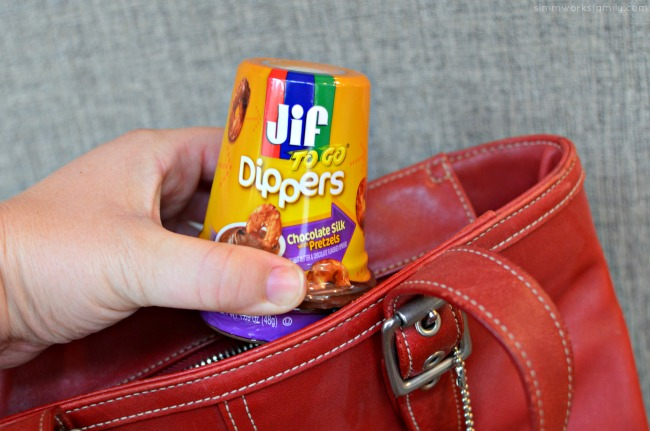 Quick and Easy Snacks On The Go - JIF to go dippers in the purse