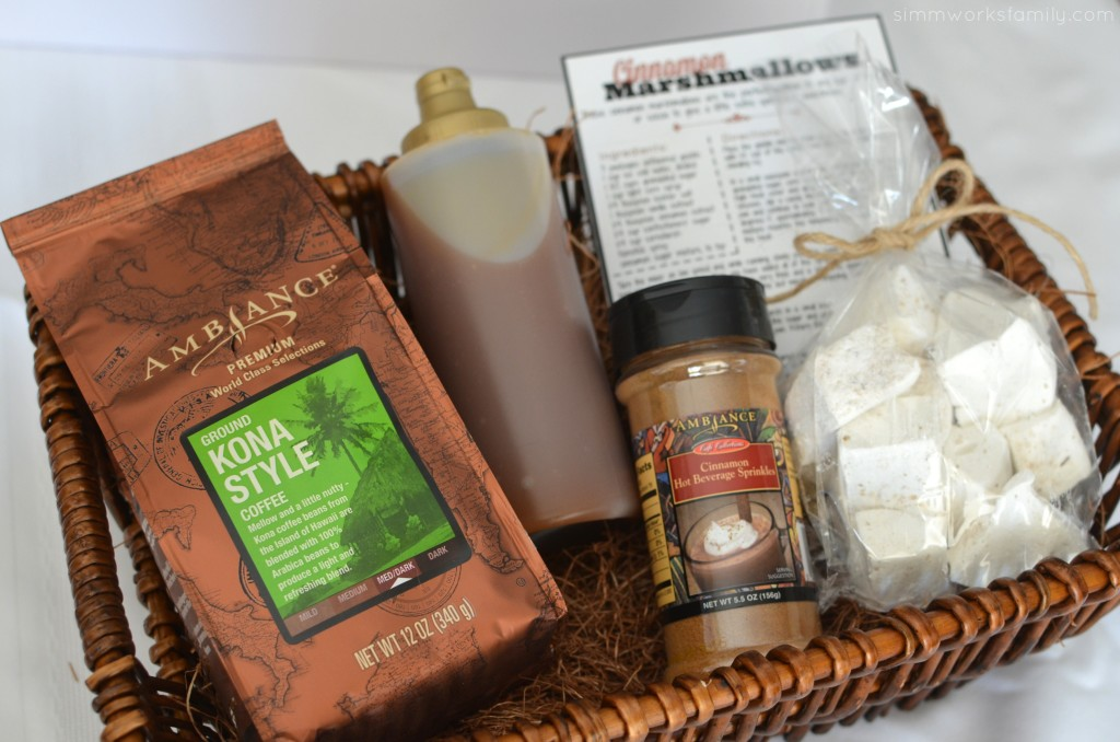 The Perfect Coffee Gift Basket including a recipe card