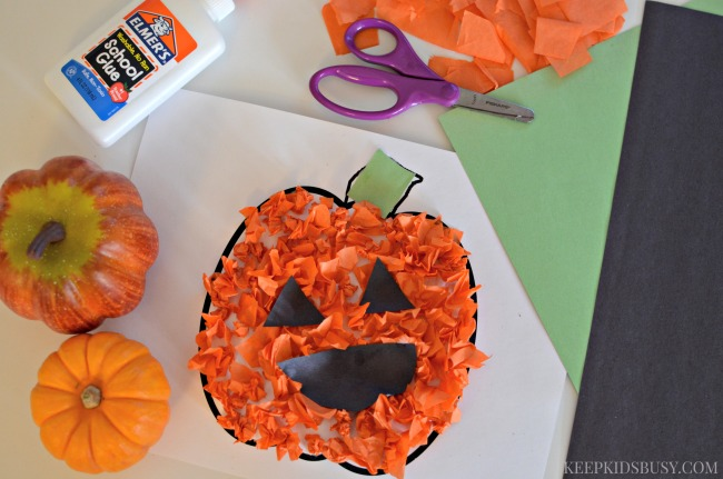 Tissue Paper Jack-O-Lantern Preschool Craft