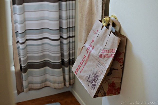 5 Tips for Cleaning The Bathroom - bag on door #TryZep