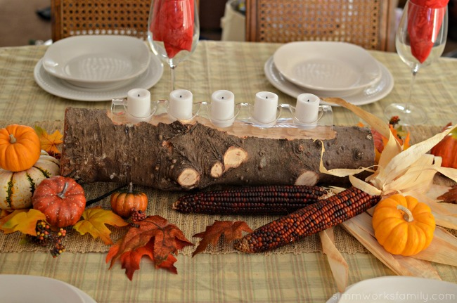 Fall Harvest Table Centerpieces - log with votives