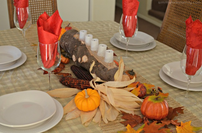 Fall Harvest Table Centerpieces - pumpkins and dried corn