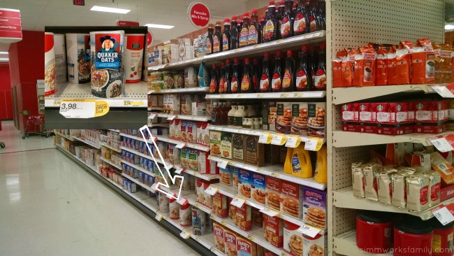 Breakfast Aisle in Target with Quaker Oats