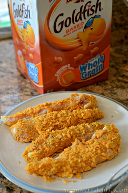 Goldfish Crusted Chicken Tenders ready to pan fry