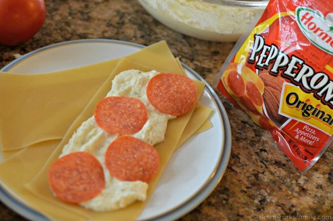 Pepperoni Recipe Ideas Pepperoni Lasagna Roll Ups assembling the rolls