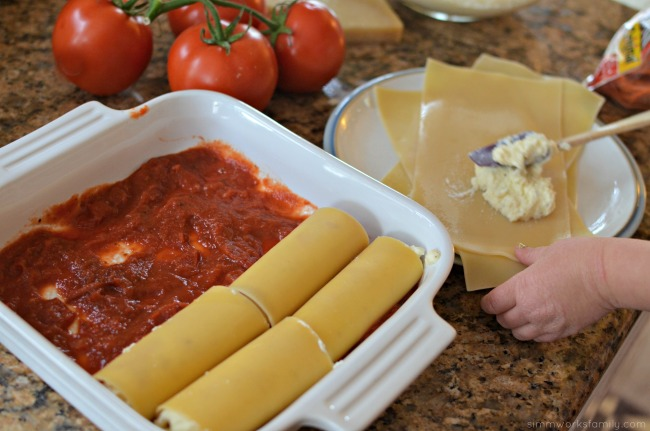Pepperoni Recipe Ideas Pepperoni Lasagna Roll Ups in the pan