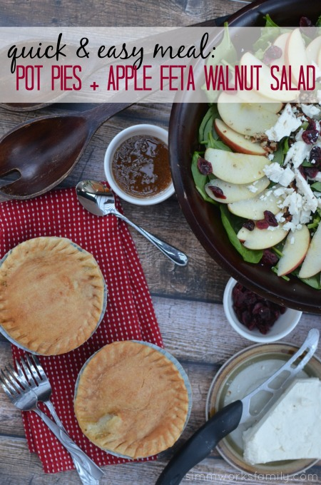 Quick And Easy Meal Pot Pies + Apple Feta Walnut Salad Recipe