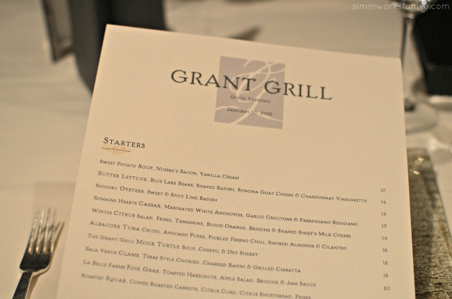 San Diego Restaurant Week 2015 - The Grant Grill Menu