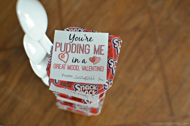 Snack Pack Pudding Valentine Printable with spoon