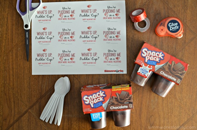 Snack Pack Pudding Valentine supplies