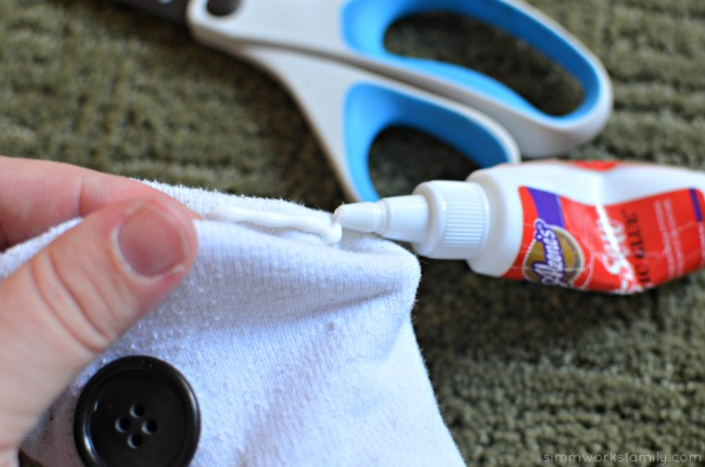DIY Baymax Upcycled Sock Rice Pack glue seam together