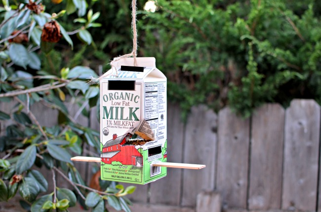 DIY Milk Carton Bird Feeder - a quick and easy DIY project for kids