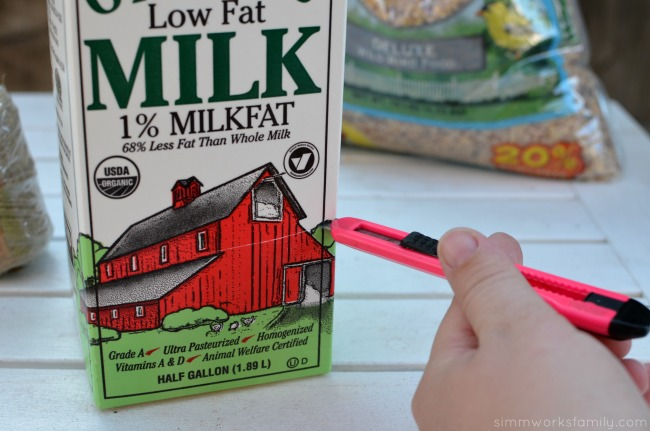 DIY Milk Carton Bird Feeder - cut milk carton