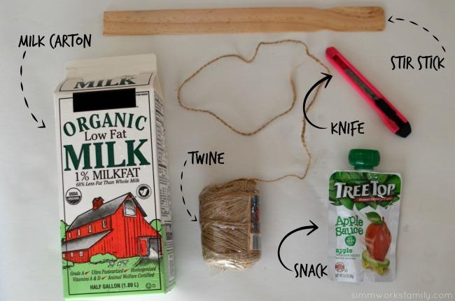 DIY Milk Carton Bird Feeder - supplies needed