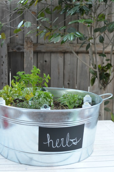 Upcycled Container Gardens with Chalkboard Label