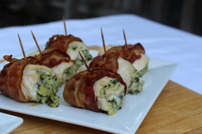 Bacon Wrapped Chicken Stuffed With Artichoke Dip