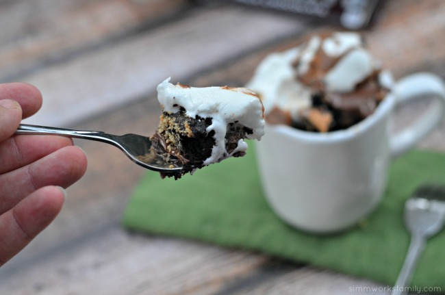 Peanut Butter Fudge S'mores Mug Cake Recipe bite