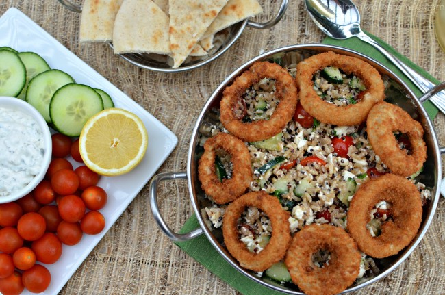 Quinoa Tabbouleh with Onion Rings and veggies