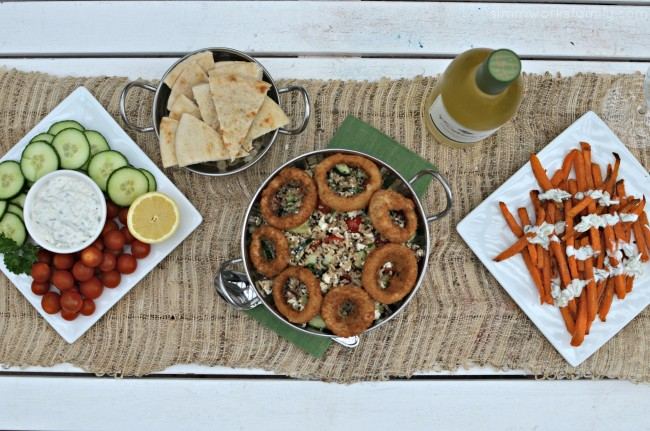 Quinoa Tabbouleh with Onion Rings mediterranean spread