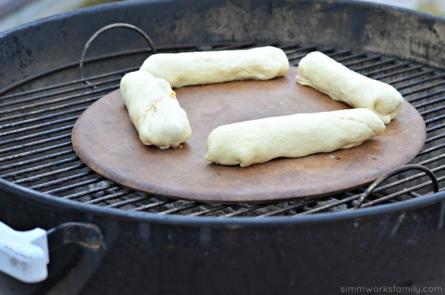 Chili Cheese Crescent Dogs baked on the grill