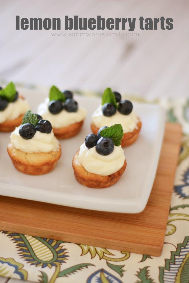 Lemon Blueberry Tarts with Mint