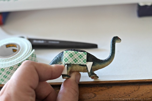 DIY 3-D Dinosaur Wall Art - add tape