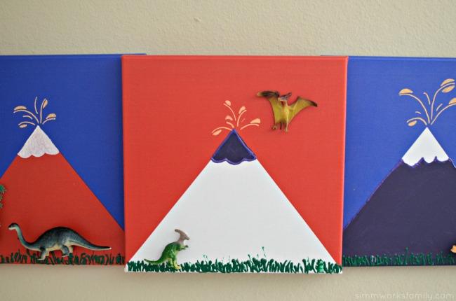 DIY 3-D Dinosaur Wall Art - attach dinos to canvas