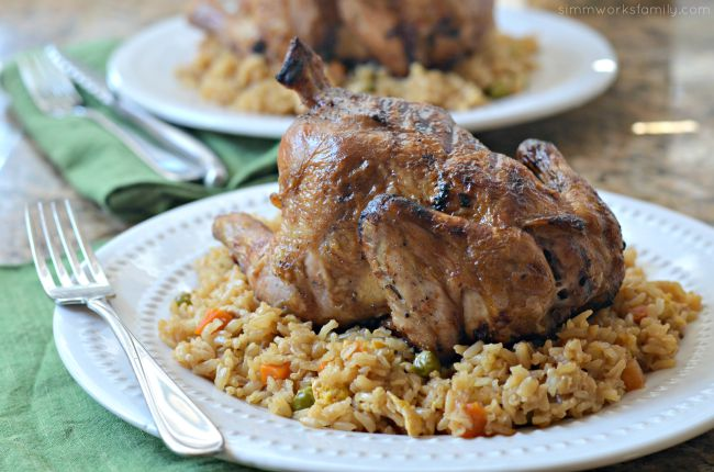BBQ Asian Cornish Game Hens + Rice Cooker Fried Rice - perfect for date night