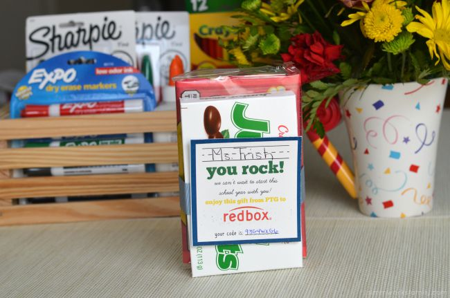 Back to School Teacher Appreciation Gifts + a Tutorial for a Redbox Gift