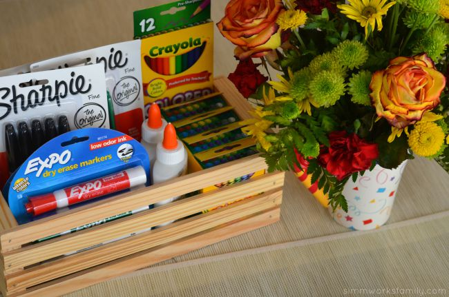 Back to School Teacher Appreciation Gifts - school supplies and flowers
