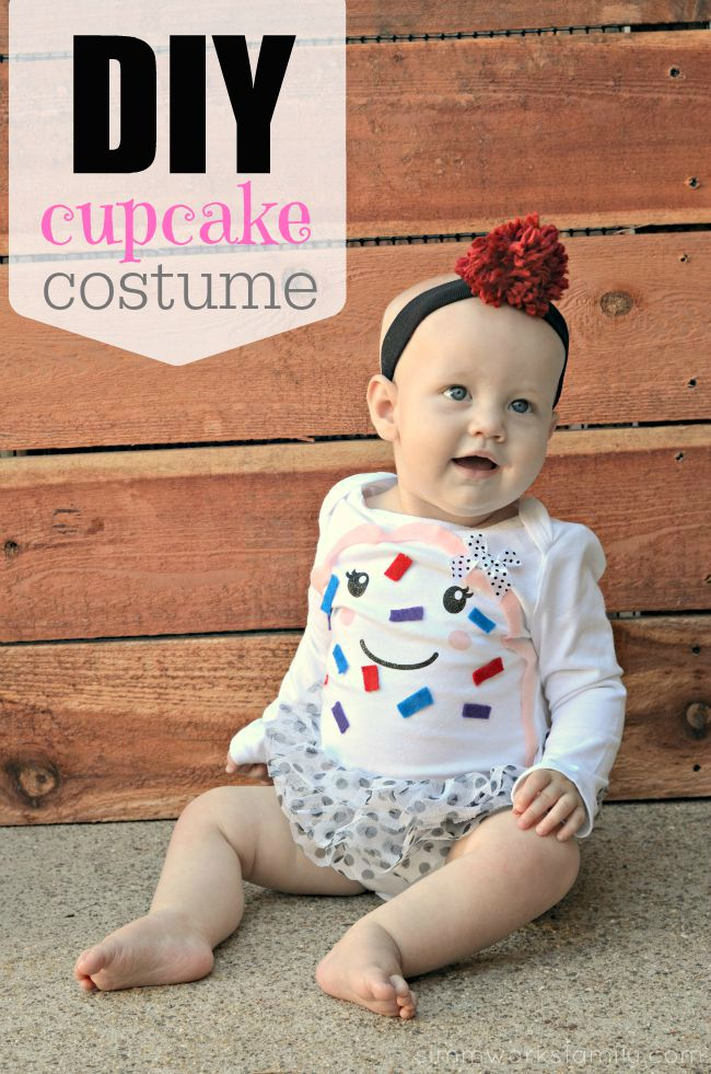 DIY Infant Cupcake Costume with a onesie