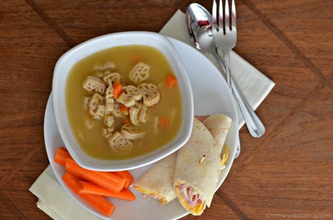 Easy Weekend Lunch Ideas For Kids - Campbell's soup, ham wrap, and carrots