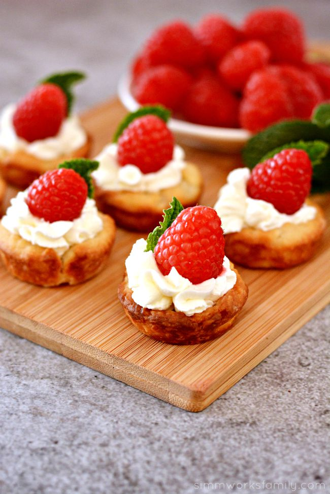Raspberry Tarts with mint garnish