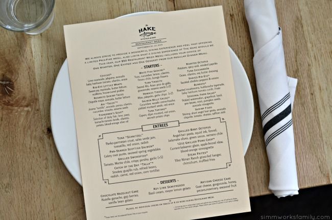 The Hake Restaurant - San Diego Restaurant Week Menu 2015