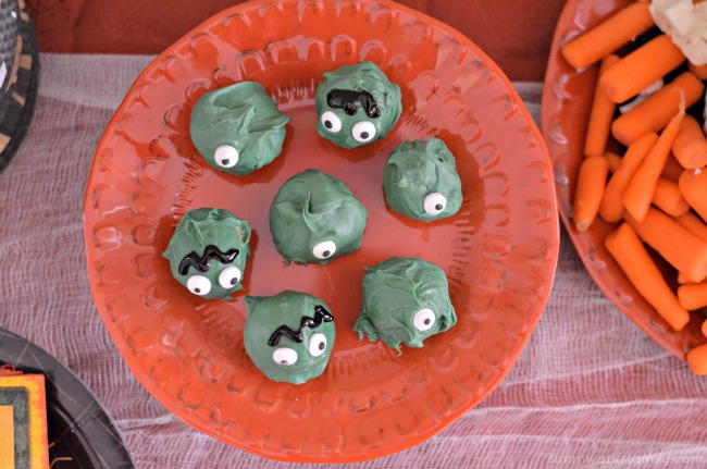 Chocolate Peanut Butter Ball Monsters with eyes