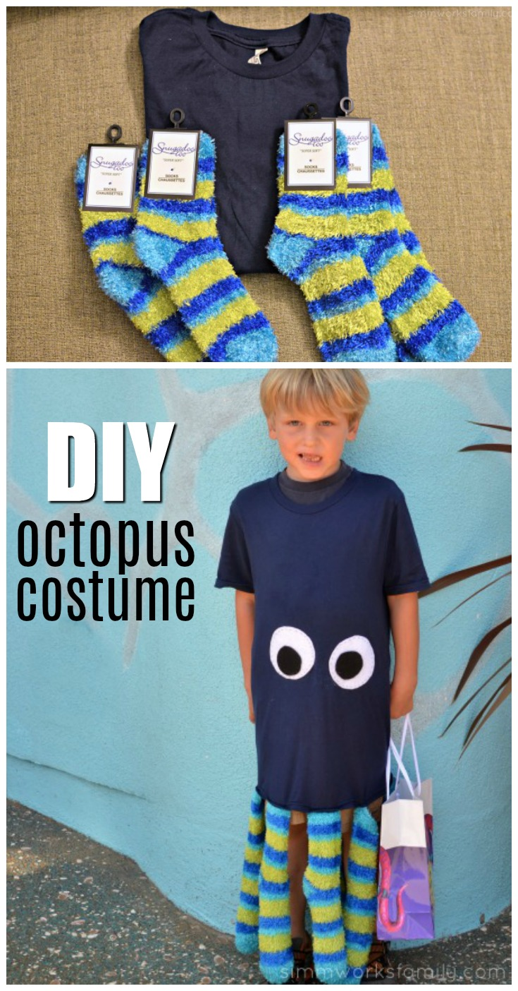 This easy DIY octopus costume is made with fun finds at our local dollar store. Total cost of the project? $5!! And it came together in less than 30 minutes.