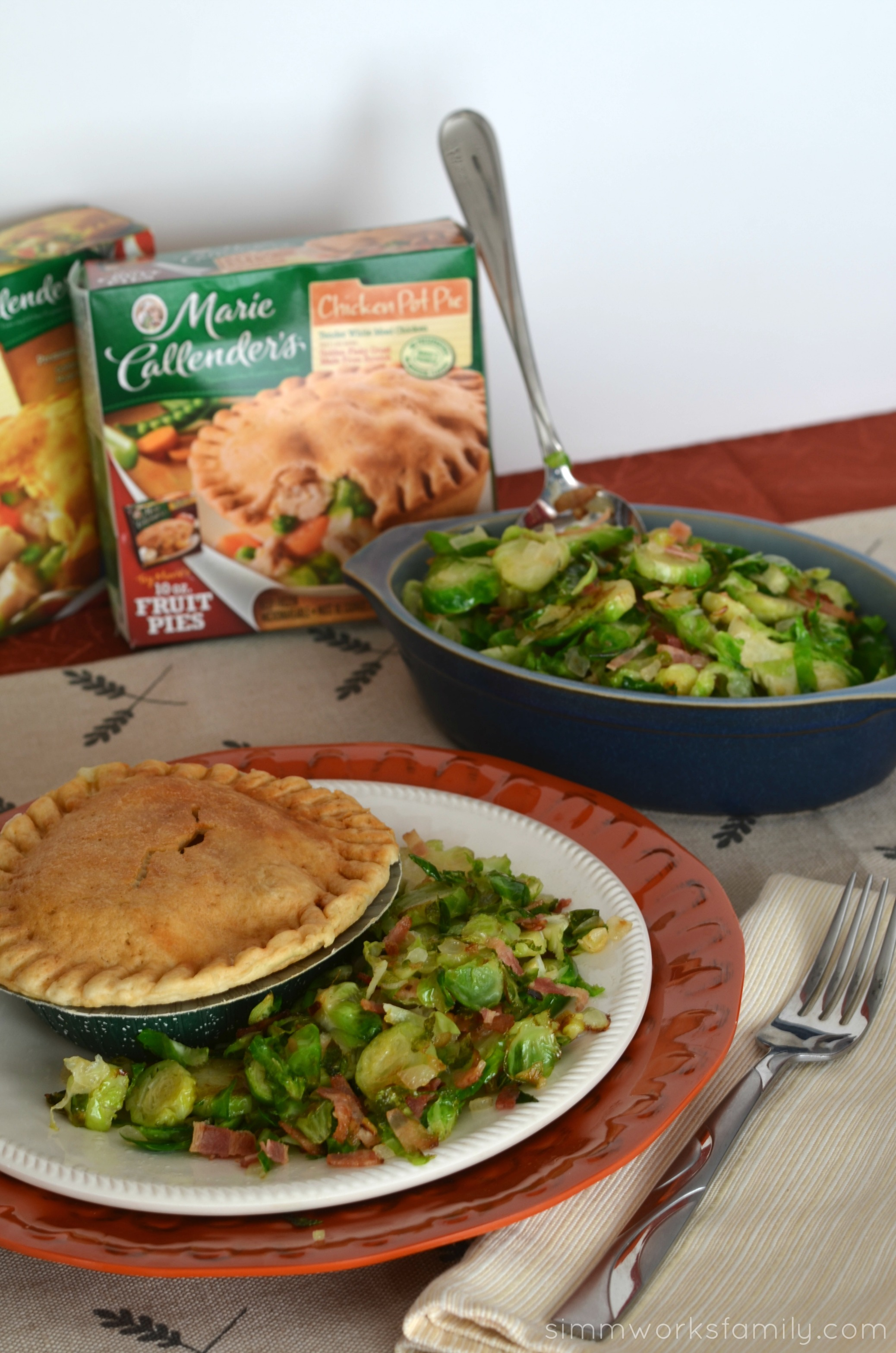 Fall Favorites- Pot Pie + Brussell Sprouts with Bacon 30 minute meal