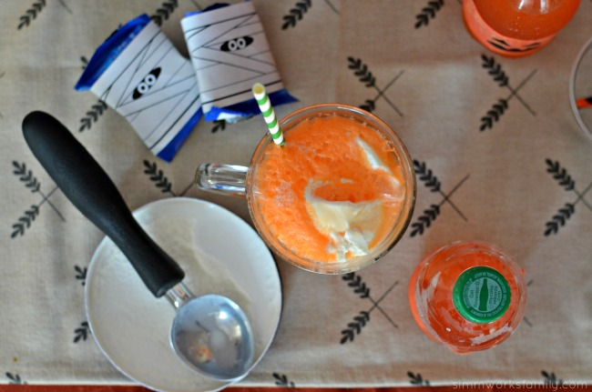 Halloween Dessert Bar With 50:50 Bar Floats fanta orange soda