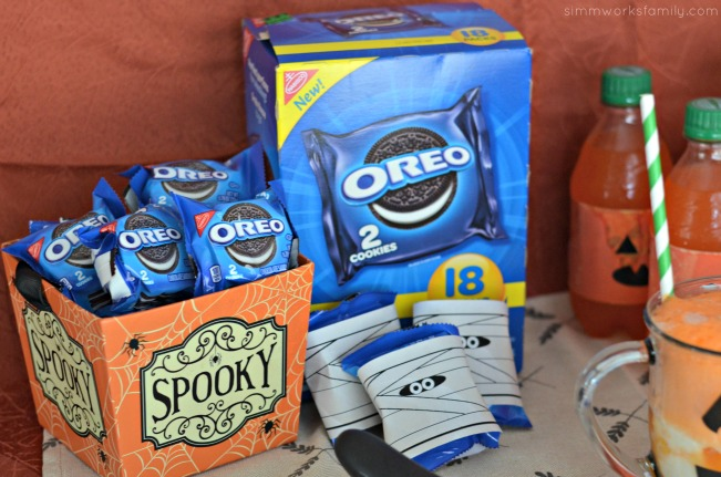 Halloween Dessert Bar With 5050 Bar Floats oreo mummies, No Bake Halloween Treats Snack Bar