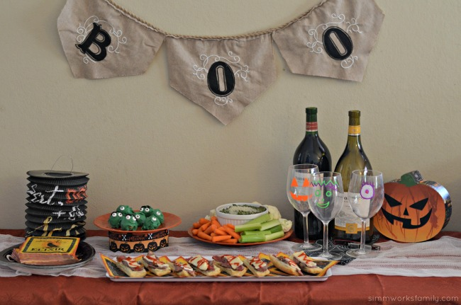 Mom's Night In Halloween Inspired Book Club food spread