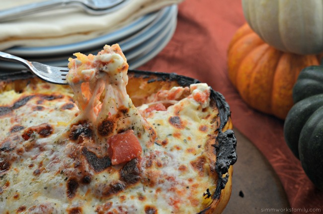 Spaghetti Squash Chicken Lasagna with cheesy goodness