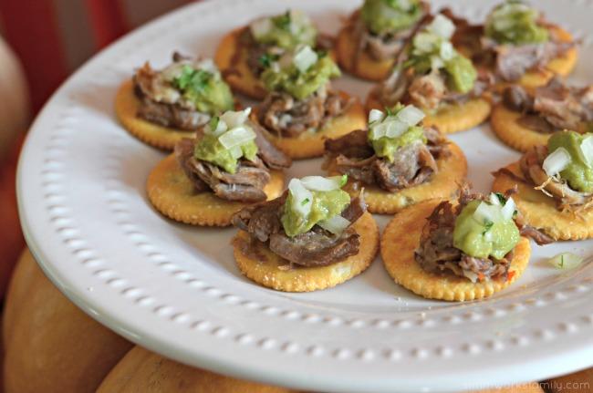 Carnitas Street Taco Bites with guacamole