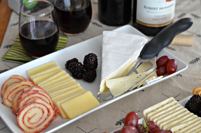 Entertaining during the holidays - simple cheese platter with fruit