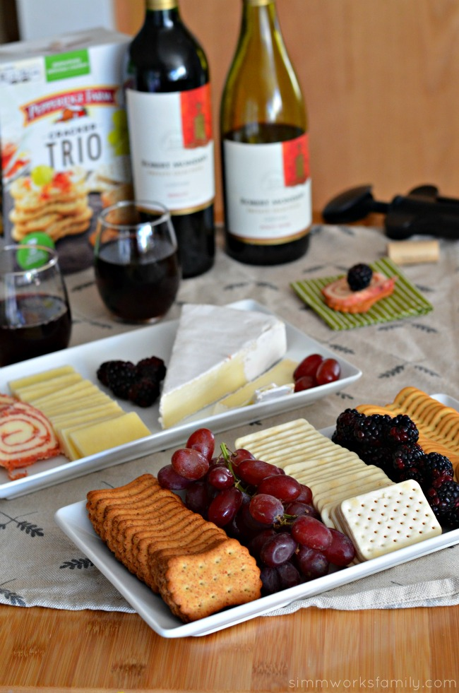 Entertaining during the holidays - simple cracker and cheese platter paired with wine