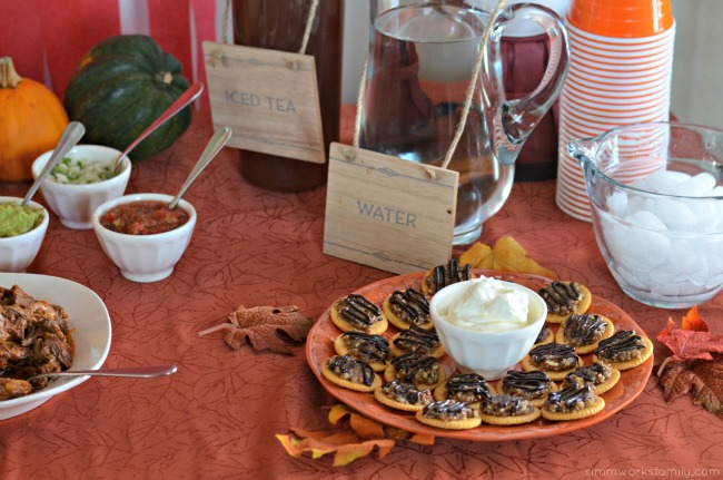 Fall Harvest Party Ideas - mini pecan pie bites and drinks
