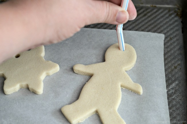 How To Make Salt Dough Ornaments - make hole with straw before baking