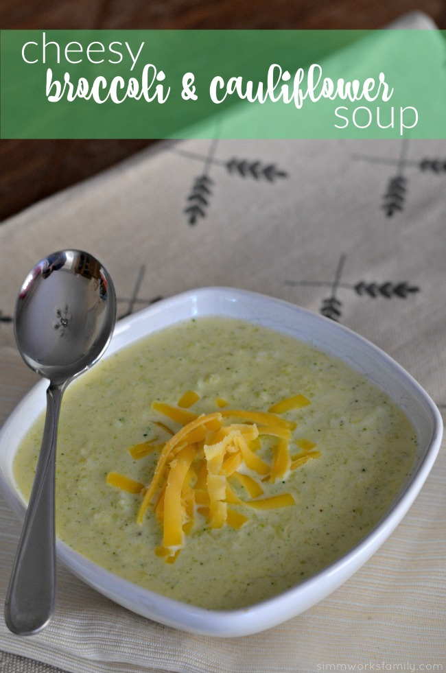 Keto Friendly Cheesy Broccoli and Cauliflower Soup