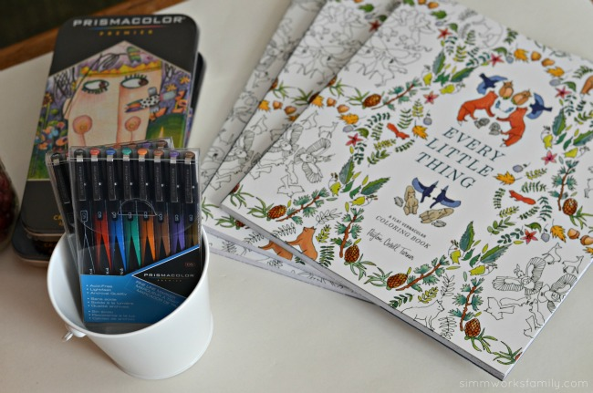 A Colorful Affair Adult Coloring Party coloring books and pens